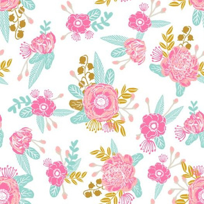 florals coordinate fox flowers fabric cute floral coordinating design