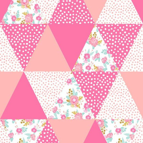 floral triangle quilt cheater quilt kids cheater patchwork fabric cute kids fabric girls fabric