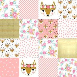 """fox florals quilt squares patchwork fox floral  2"""" squares"""