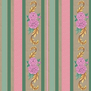 Floral Festive narrow stripe