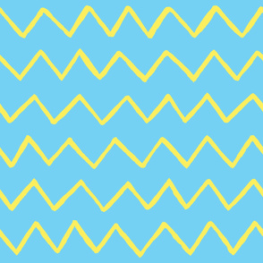 Marker yellow zig-zag lines on blue