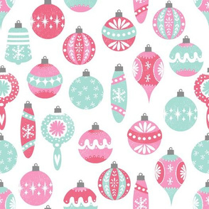 vintage christmas ornaments // vintage pastel pink christmas soft pastel pink christmas ornaments retro ornaments