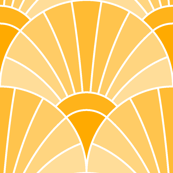 art deco fan scale : golden apricot saffron orange