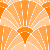 art deco fan scale : orange tangerine peach
