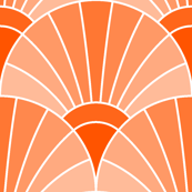 art deco fan scale : vermilion orange salmon coral