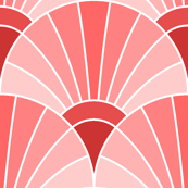 art deco fan scale : scarlet red rose