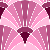 art deco fan scale : blackcurrant maroon