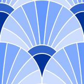 art deco fan scale : sapphire blue