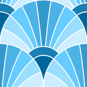 art deco fan scale : sky prussian blue