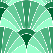 art deco fan scale : jade green
