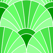 art deco fan scale : emerald green