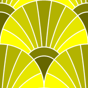 art deco fan scale : lemon yellow olive green