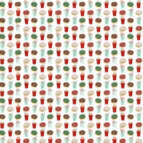 tiny christmas fabric print donuts and coffee fabric donut fabric red and green christmas designs