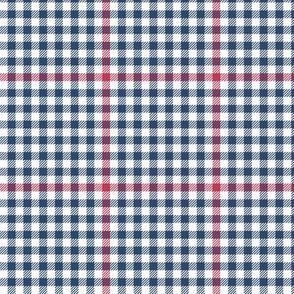 soft red, white and blue tartan check