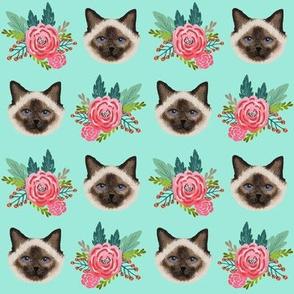 birman cat fabric cute seal point cat design cute mint florals cat design best floral cat fabrics