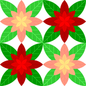 geometric poinsettia tile : pink + red