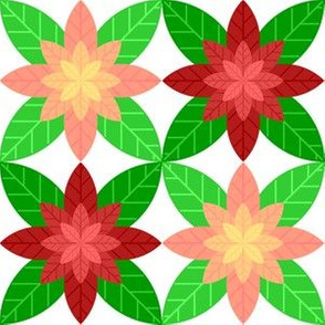 geometric poinsettia 4 : red + pink