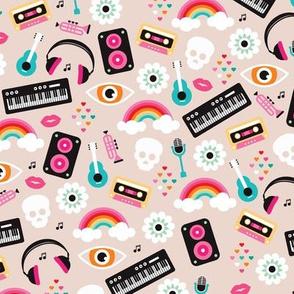 Musical instruments cool kawaii colorful hipster teen print guitar rainbow music