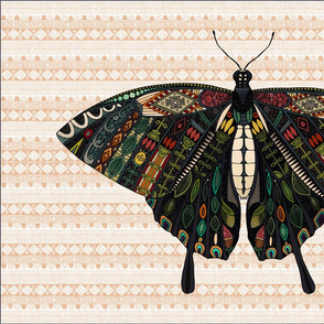 swallowtail butterfly peach tea towel