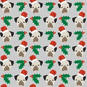 pug dog christmas fabric santa paws cute christmas design