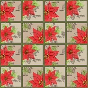 Poinsettia Gift Labels - 3inch