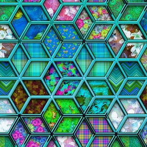 METALLIC DOUBLE MIX HEXIES 3D TURQUOISE AQUA BLUE