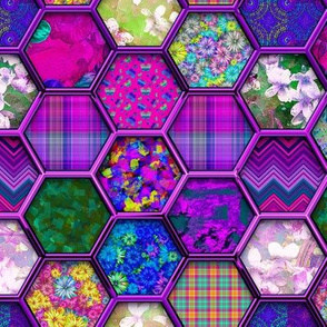 METALLIC MIX HEXIES 3D FUCHSIA PINK