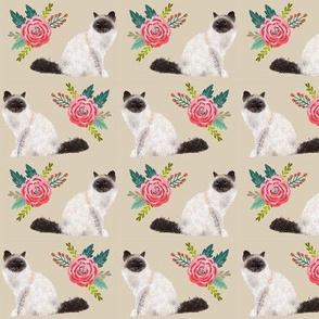 birman cat florals cute cat design best birman cat seal point birman fabric cute cats fabric lovely florals fabric