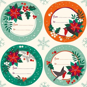 Poinsettia vintage christmas labels