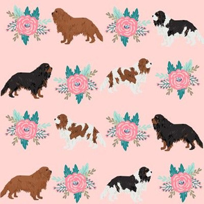 cavalier king charles spaniel pink florals fabric cute dog floral fabrics