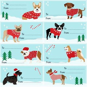 Christmas Dogs Gift Tags - christmas dogs in sweaters cute pets