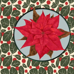 Red Poinsettia for Pillow