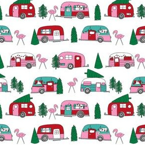christmas campers // pink and green xmas holiday christmas fabric cute holiday christmas designs