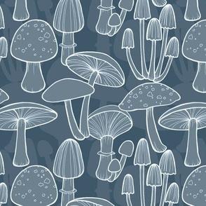 Mushrooms - midnight blue