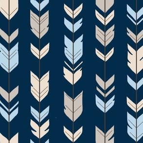 Arrow Feathers - Baby Blue/Cream/navy - CottonWood-ch