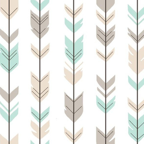 Arrow Feathers -tan and mint on white