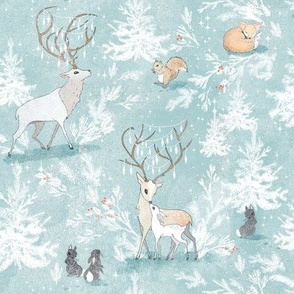 Vintage Woodland Xmas SMALL (grey blue)