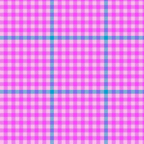 tartan check - heroic pink and cyan