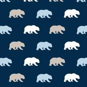 Bears - beige, white, baby blue on navy - cottonwood
