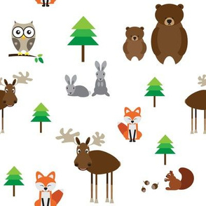 Forest animals // fox elk moose bear owl pine tree rabbit hare squirrel cute woodland whimsical
