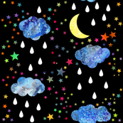 Magic Night - watercolour stars and raindrops - black background
