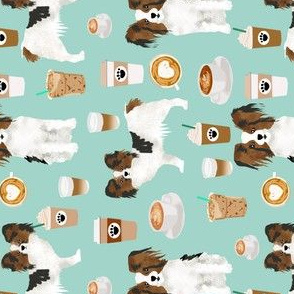 papillon dog coffee mint fabric cute dogs fabric best coffee latte fabric best coffee print dogs papillon fabric railroad fabric