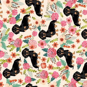 doxie  flowers florals dachshund dachshunds fabric dog cute pet dog fabric for baby leggings cute girls sweet flowers railroad fabrics