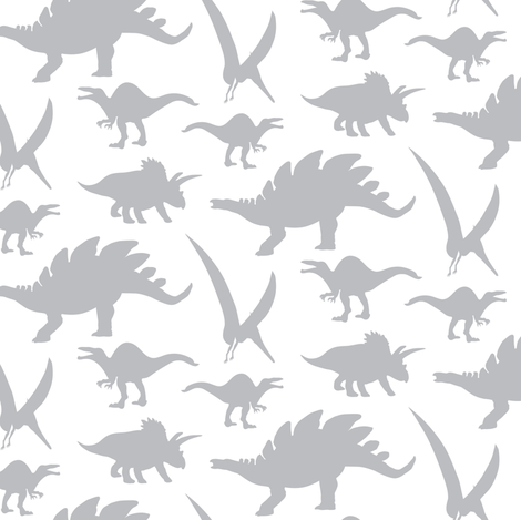 Gray dinosaur on white miss chiff designs fabric for Grey dinosaur fabric
