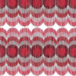 Scalloping Circles Ikat Dark Red and Gray