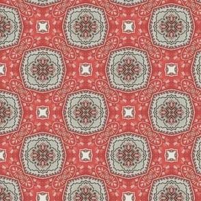 Coral Grey Floral Damask Pattern 2