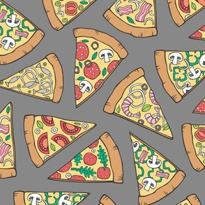 Pizza Fast Junk Food on Dark Grey