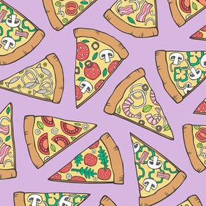 Pizza Fast Junk Food on Purple Purpel