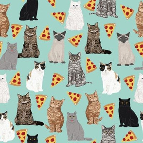 pizza cats cute mint cat lady fabric cute food pizzas fabric