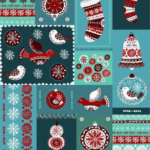 folk christmas quilt repeat